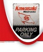 """Ретро табела XL """"KAWASAKI паркинг"""" 30 x 40см"""